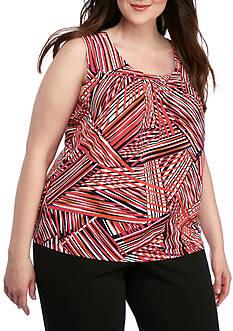 Kasper Plus Size Printed Pleated Neck Cami