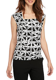 Kasper Printed Square Neck Cami