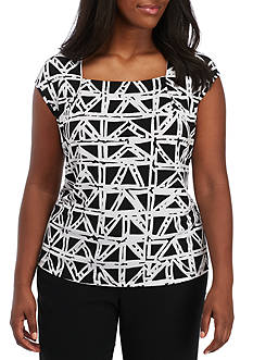Kasper Plus Size Printed Square Neck Cami