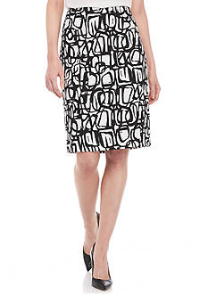 Kasper Novelty Graffiti Pencil Skirt