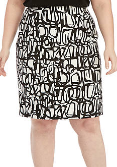 Kasper Plus Size Novelty Graffiti Pencil Skirt