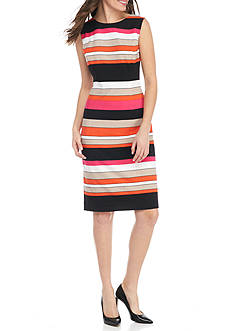 Kasper Stripe Sheath Dress
