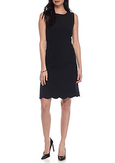 Kasper Scallop Hem Crepe Dress