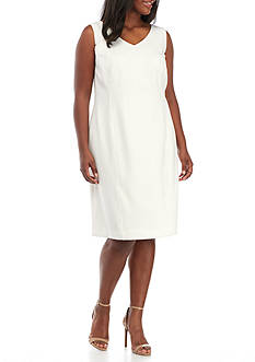 Kasper Plus Size Sleeveless V-Neck Dress