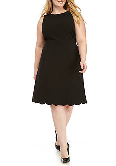 Kasper Plus Size Solid A-line Dress
