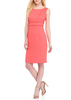 Kasper Petite Textured Linen Sheath Dress
