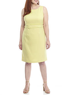 Kasper Plus Size Textured Linen Sheath Dress