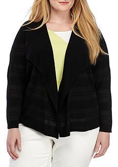 Kasper Plus Size Sheer Stripe Cardigan Sweater