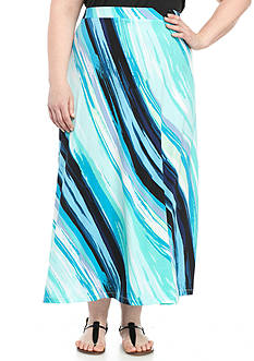 Kasper Plus Size Printed Maxi Skirt