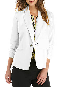 Kasper Petite Ruched Sleeve One Button Linen Jacket