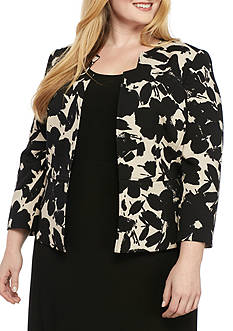 Kasper Plus Size Printed Flyaway Jacket