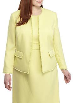 Kasper Plus Size Textured Linen Flyaway Jacket