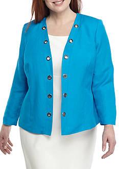 Kasper Plus Size Linen Flyaway Grommet Jacket