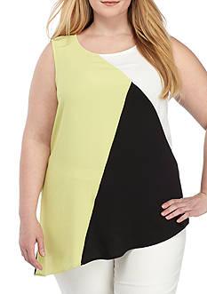 Kasper Plus Size Colorblock Asymmetrical Hem Cami