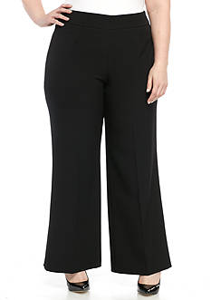 Kasper Plus Size Stretch Crepe Wide Leg Crop Pant