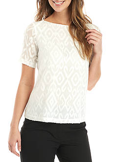 Kasper Short Sleeve Textured Blouse