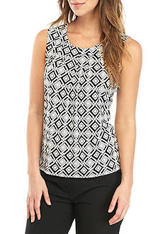 Kasper Pleated Neck Printed Cami