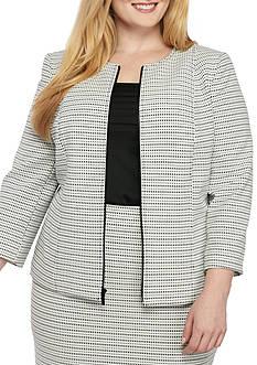 Kasper Plus Size Dash Stripe Knit Jacquard Zip Jacket