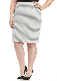 Kasper Plus Size Dash Stripe Knit Jacquard Skirt