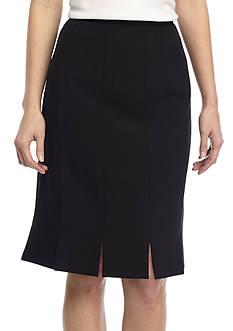 Kasper Petite Stretch Crepe Slim Multi-Slit Skirt