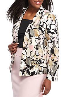 Kasper Plus Size Floral Printed Flyaway Jacket