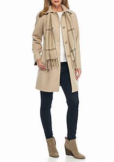 London Fog Club Collar Raglan Sleeve with Scarf