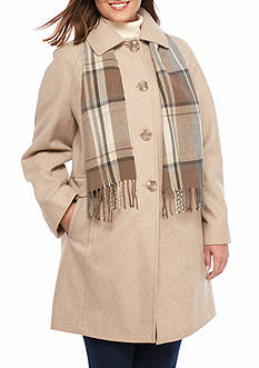 Plus Size London Fog Women's Peacoat with Scarf