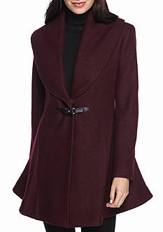Kensie Shawl Collar Buckle Front Coat
