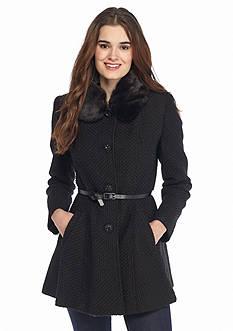 Kensie Single Button Faux Fur Collar Belted Walker