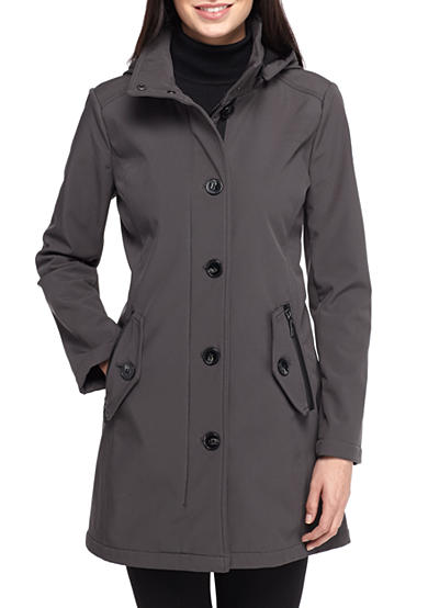 Kensie Button Front With Hood Jacket