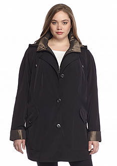 Gallery Plus Size Anorak Aline Button Front Coat