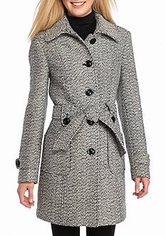 Gallery Tweed Belted Single Breasted Coat