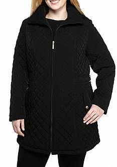 Gallery Midlength Zip Quilt Coat with Removable Hood