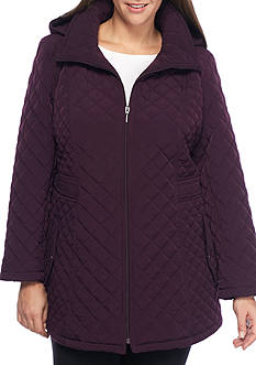 Gallery Plus Size Quilted Hooded Coat