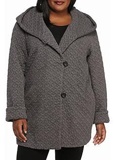 Gallery Plus Size A Line Fleece Quilt Coat
