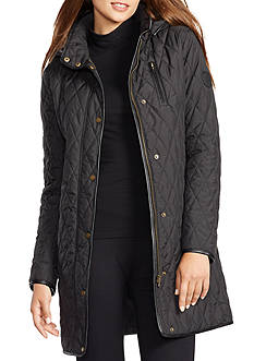 Ralph Lauren Faux-Leather-Trim Quilted Jacket