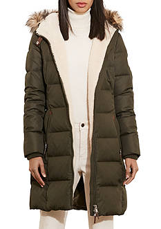 Lauren Ralph Lauren Long Down Quilted Parka with Faux Leather Neck Tab