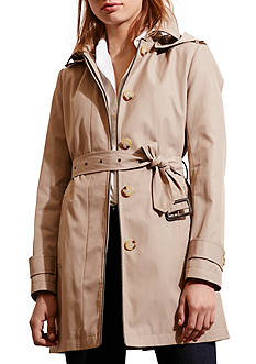 Ralph Lauren Faux Leather Trim Raincoat with Hood