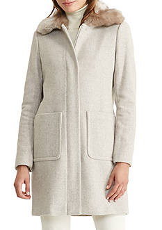 Lauren Ralph Lauren Faux-Fur Trim Wool Coat