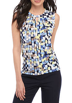 John Meyer Printed Pleated Keyhole Neck Sleeveless Top