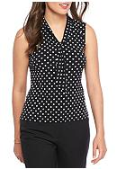 John Meyer Printed Tie Neck Shell Top