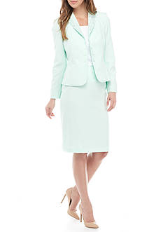 John Meyer Embellished Neck Jacket Skirt Suit