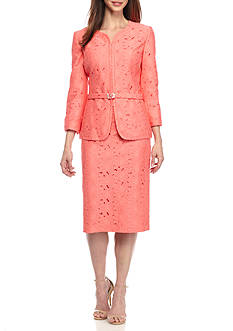 John Meyer Lace Rhinestone Belted Skirt Suit