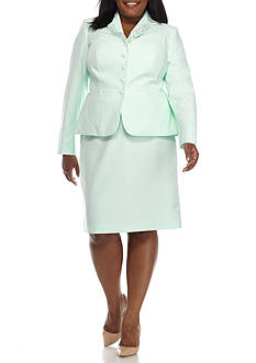John Meyer Plus Size Embroidered Skirt Suit