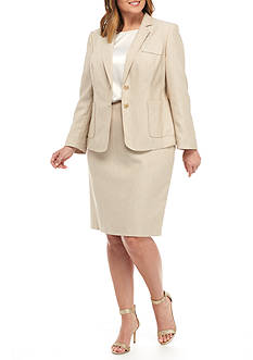 John Meyer Plus Size Dual-Button Skirt Suit