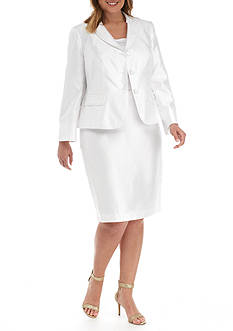 John Meyer Plus Size Three-Button Skirt Suit