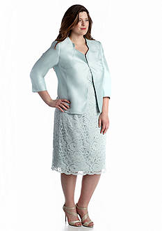 John Meyer Plus Size Lace Jacket Dress Suit