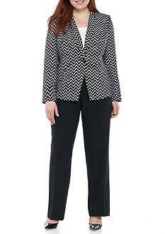 John Meyer Plus Size Chevron Pants Suit