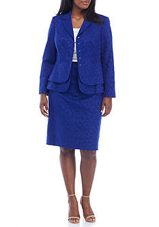 John Meyer Plus Size Lace Double Peplum Jacket Skirt Suit