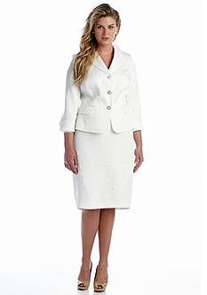 John Meyer Plus Size Notch Collar Three Button Skirt Suit
